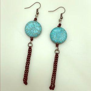 Vintage Turquoise Stone Drop Earrings